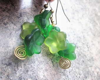 Woodland Inspired Earrings, Green Glass Bell Flowers & Antiqued Brass Wire, Chunky, for Her, Mixed Greens, Spirals, OOAK, One of a Kind