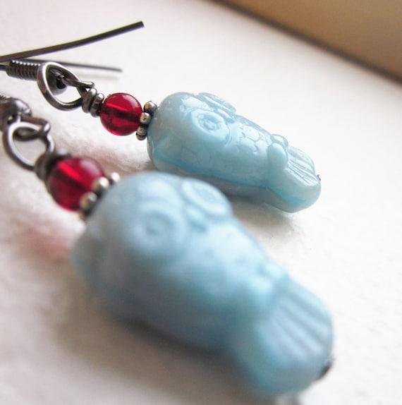 Blue Owl Earrings. Czech Glass. Vintage Garnet Glass & Sterling Silver Accents. Wire Wapped in Gunmetal. OOAK. Lightweight. Gifts Under 20