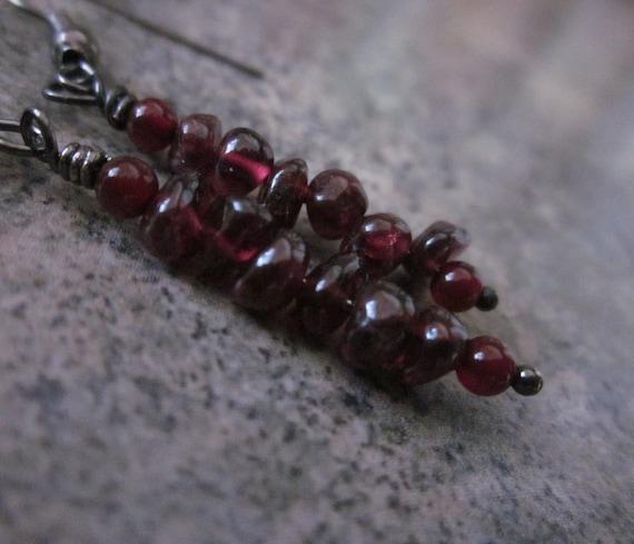 Garnet Gemstone Earrings. January's Birth Stone. Carnelian Accents. Wire Wrapped Earrings in Gunmetal. Sleek. Deep Red. Natural Gemstone