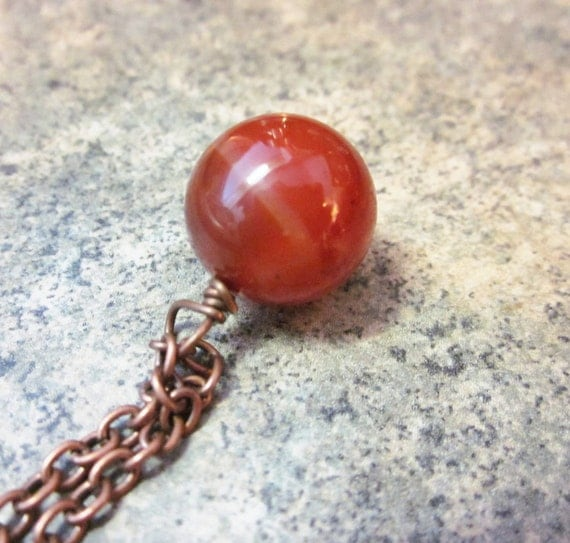 Agate Pendant Necklace. Chunky Gemstone Pendant. Natural Gemstone. Minimalist. Simple. Autumn Fashion. Long Antiqued Copper Chain