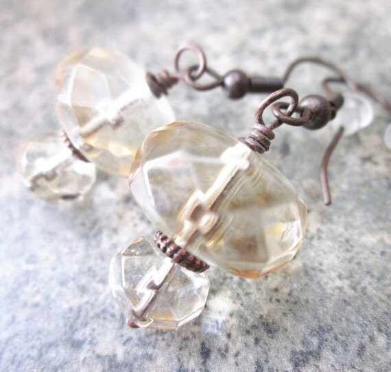 Topaz Glass Earrings, Wire Wrapped in Antiqued Copper - Last Pair - On Sale / Clearance