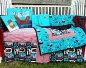 Boys Crib Bedding Set Plus Wall Art Blue Brown Red White Skull without bumpers