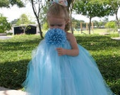 Stop and Smell the Flowers Tutu Dress Blue 12m - 5T Great for Portraits Birthdays or Halloween