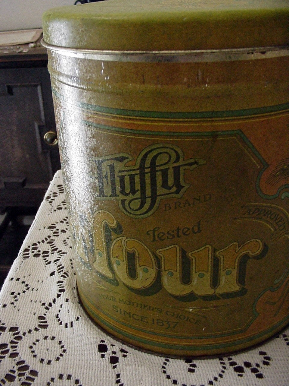 fluffy brand flour canister 1970s green antique look