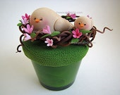 CLAYCRAFT by DECO - Two Birds in a Nest on a Green Glass Votive