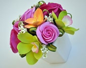 CLAYCRAFT by DECO- Pink Roses, Green Dendrobium Orchids, and Freesia in a White Ceramic Container