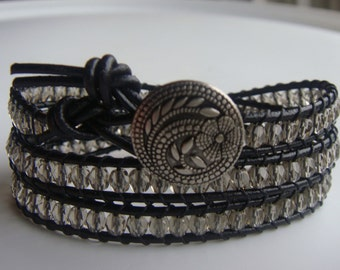 Black Diamond Beaded Leather Wrap Bracelet