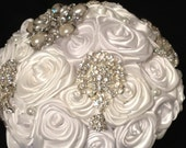 Satin White Rose Bridal Bouquet