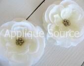 Ivory Craft Silk Organza Rhinestone Flowers x 6 Craft Flower Wedding Decor Bridal Accessory