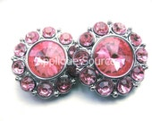 Set of Six 6 LIGHT PINK Acrylic Rhinestone Buttons - Great for Flower Center and Hairbows