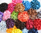 Satin Flowers for Headbands, Hair Clips and More - Pre-Packaged SIX ASSORTED Happy Little Satin Flower Puffs