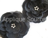 Layered BLACK Craft Silk & Organza Flowers with Rhinestones x 3 For Hair Clips Brooch Wholesale Supply Flowers