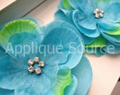 Craft Silk & Organza Rhinestone Flowers - TURQUOISE BLUE - Set of 6 Flowers