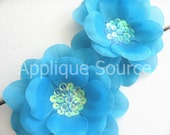 Large Sapphire Blue Silk Flowers with Sequin Centers x 2 - Silk Flowers for Hair Accessories