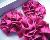 Set of 3 Fuchsia Satin Flower Puffs - Great Applique For Hair Accessories