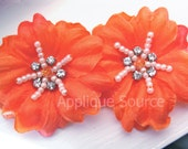 Small TANGERINE Craft Silk Flowers with Rhinestones and Pearls x 2 - Beautiful for Wedding Decor, Bridal Headpieces, Etc - So Elegant!