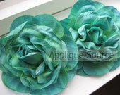 Craft Flowers - TROPICAL GREEN Shabby Chic Vintage Look Victorian Silk Rose Flowers - Set of SIX Flower Heads