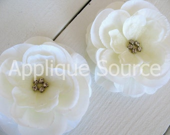 Ivory Craft Silk Organza Rhinestone Flowers x 2 Craft Flower Wedding Decor Bridal Accessory