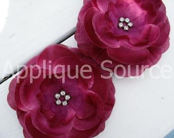 Set of Two Boutique Layered Wine Silk Flower with Rhinestones - Hair Flower Bridal Flower