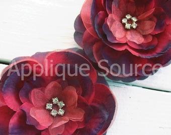Set of Two Raspberry/Cranberry Red Silk Flower with Rhinestones - Hat Flower Hair Flower Wedding Flower Tutu Flower