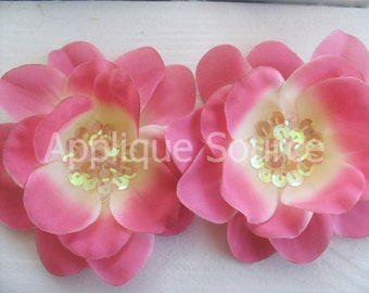 Large Craft Silk Sequin Flowers x 2 -Light Fuchsia - Sequin Flowers for Hair Accessories Brides Flower Girls & More