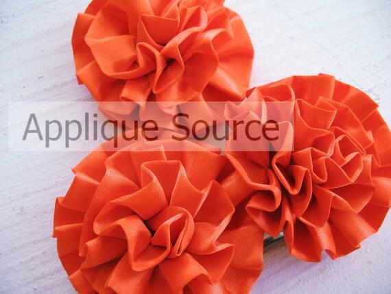Satin Flower Puffs x 9 Orange