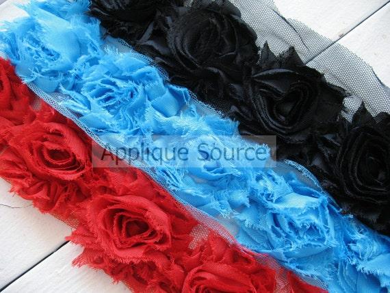 RED Frayed Chiffon Rosettes -10 Flowers