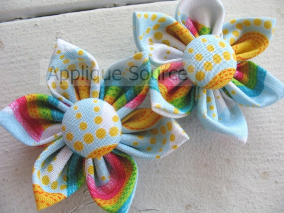 Over the Rainbow Handmade Fabric Flowers with Covered Button Centers - Set of TWO Fabulous Fabric Flowers