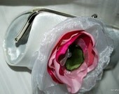 Brides Clutch in White with Layered White Fuchsia and Lime Green Organza flower