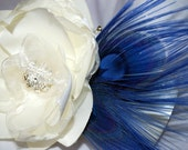Bridal Clutch Your Something Blue/ Ivory/ White/ Off White Satin Clutch with Ivory Fabric Flower Rhinestone Button and Blue Peacock Feathers
