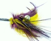 Feather Boutonniere for your groom/ groomsmen/ fathers of the bride and groom/ Citron Green and Eggplant Feathers