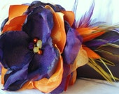 Bridesmaid Clutch/ Chocolate Brown Satin Clutch with Orange and Purple Fabric Flower w/ Feather Accents