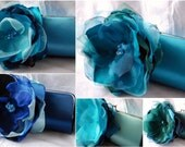 Bridesmaid Clutches - Bridesmaid Gift Idea - Bridesmaid Bouquet Clutch - Custom Clutch Set of 6 -  Shades of Sea Glass