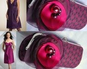 Bridesmaid Clutch - Bridesmaid Clutches - Bridesmaid Gift Idea  - Eggplant Purple Polka Dots - This clutch is READY to ship