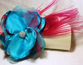 Bridal Clutch - Bridal Bouquet Clutch - Bridesmaid Gift Idea - Custom Clutch Collection - Fuchsia and Turquoise- Personalized Clutch