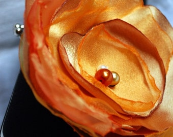 Bridesmaid Clutch Collection Black Satin with Orange Tangerine and GOlden Yellow Flower Perfect for your fall wedding