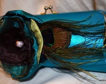 Bridesmaid Clutch | Handmade Flower | Peacock Feather Accent | Personalized Clutch | Handmade Clutch | Bridesmaid Gift | Flower Clutch |