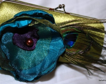 bridesmaids clutch collection Olive satin purse with teal purple and olive flower with peacock feather accents