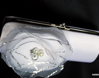 Brides Clutch/ Contemporary White Wedding with Silver and Pearl Accents