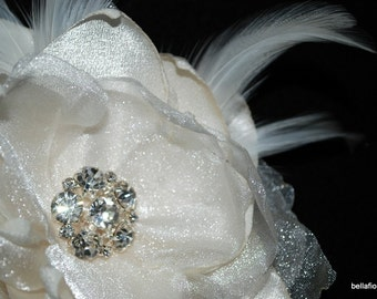 brides Statement Hair Fabric Flower Hair Piece | Vintage Glam Inspired comes in Ivory White and Off white