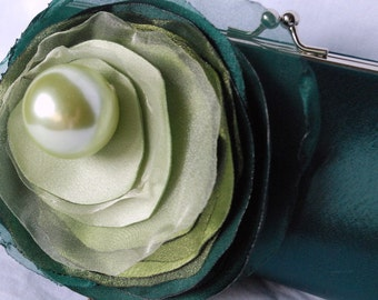 Shades of Green Clutch/ Emerald Green satin clutch fabric flower in shades of green