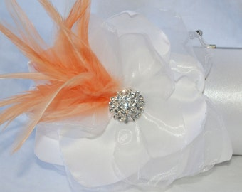 Bridal Clutch/ White/Ivory or Off White Satin clutch With Peach Feathers and Rhinestone Detail/