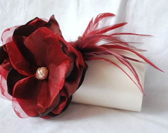 Bridal Clutch | Winter Wedding Collection | Ivory Clutch | Burgundy Fabric Flower | Personalized Clutch | Bridesmaid Clutch Collection