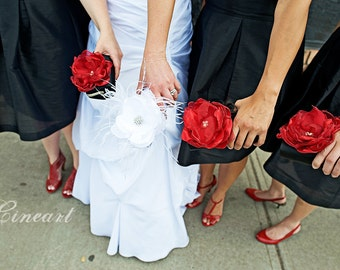 Bridesmaid Clutch - Bridesmaid Clutches - Bridesmaid Gift Idea  - Black Clutch with Red Flower - Set of 4