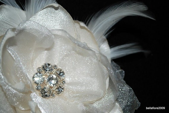 brides Statement Hair Fabric Flower Hair Piece/ Vintage Glam Inspired comes in Ivory White and Off white