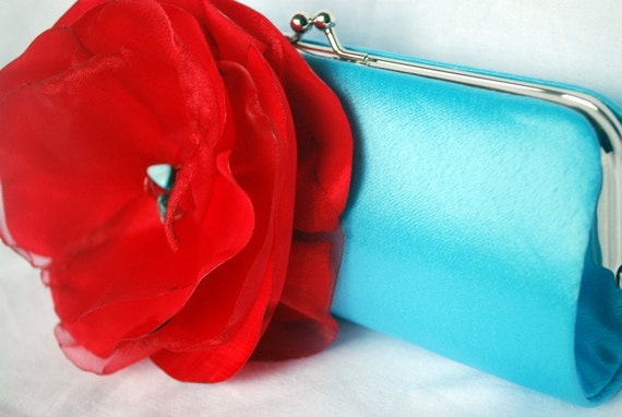 Bridesmaid Clutch/ Turquoise Satin Clutch with Tomato Red Flower Accent