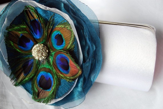 Bridal Clutch - Peacock Flower White/Ivory or Off White Satin clutch With Peacock Feather Flower
