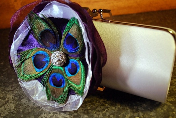 Bridal Clutch- White Clutch - Ivory Clutch - Off white Clutch -  Purple Fabric With Peacock Feather Flower