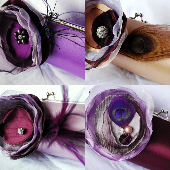 Set of 4 Custom Clutches for Your Bridal Party and Bridal Purse/ Shades of Purple and Champagne Feathers and Rhinestones