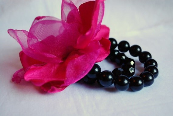 Set of 2 Tripple Fabric Flower Bracelet Wrist Corsage/ Fuchsia Hot pink with Black Beaded Bracelet